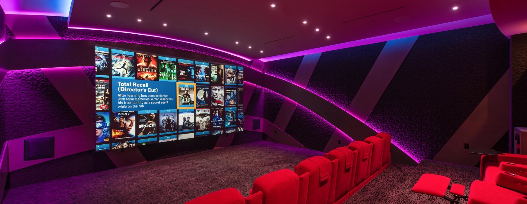 Home theater display including projector, screen, lighting